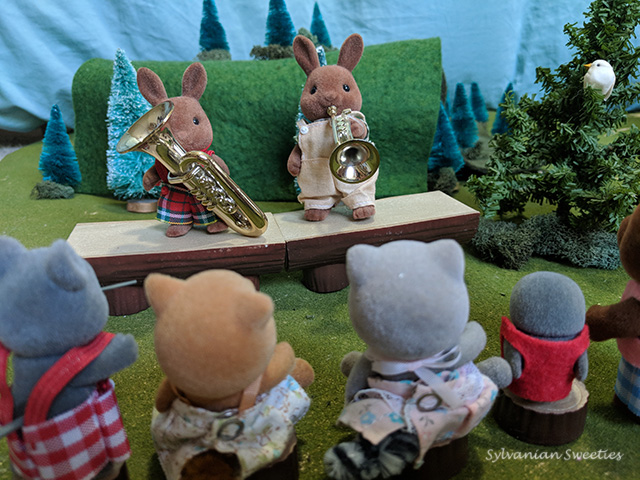 Sylvanian Families Herb Wildwood plays the trumpet